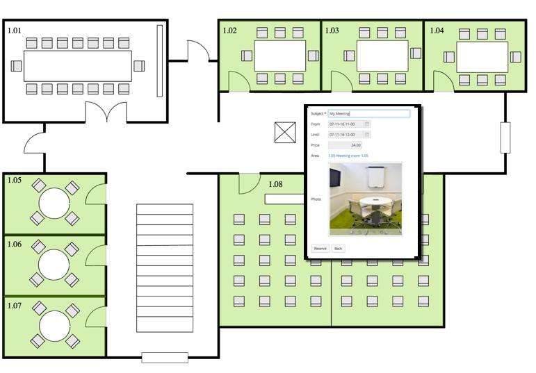 Axxerion Screenshot Raumreservierung auf Grundriss