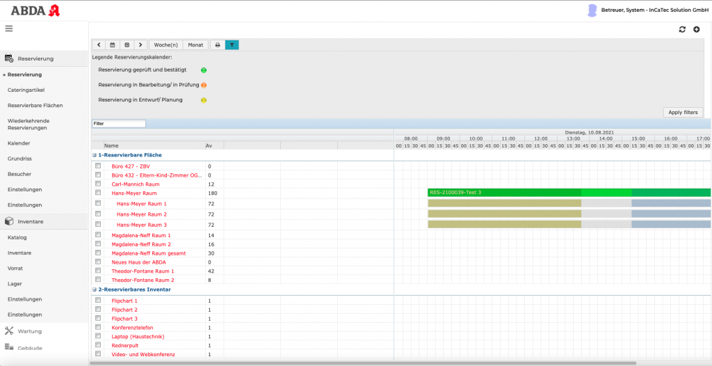 Screenshot Axxerion Reservierungskalender